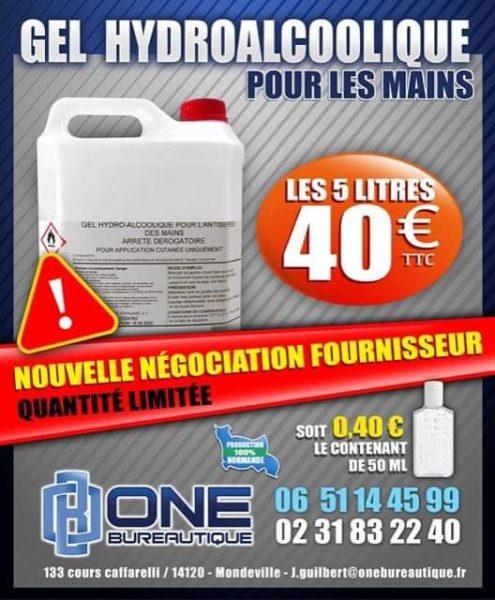 Gel hydroalcoolique - One Bureautique - Caen 14 - 40€ les 5 Litres