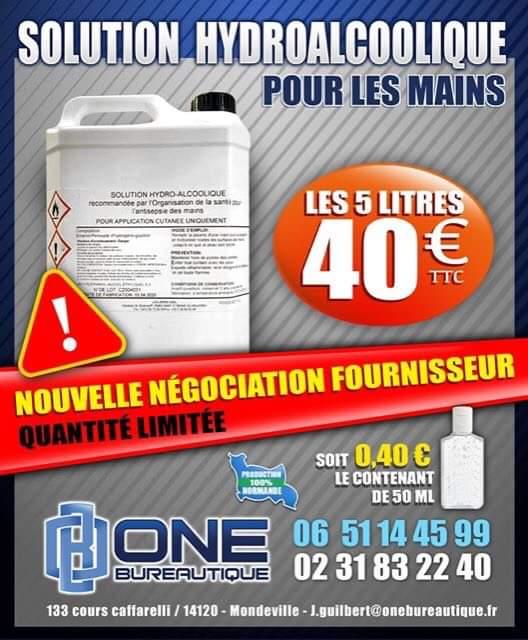 Solution hydroalcoolique - One Bureautique - Caen 14 - 40€ les 5 Litres